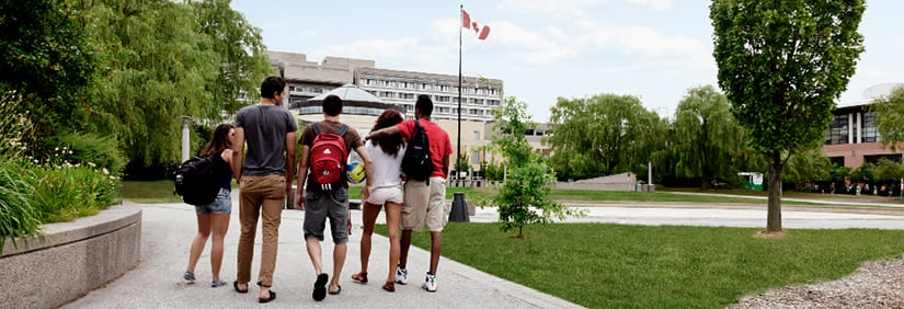 group of students walking in the York U common
