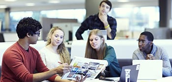 Group of students discussing a project