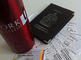 York water bottle and passport